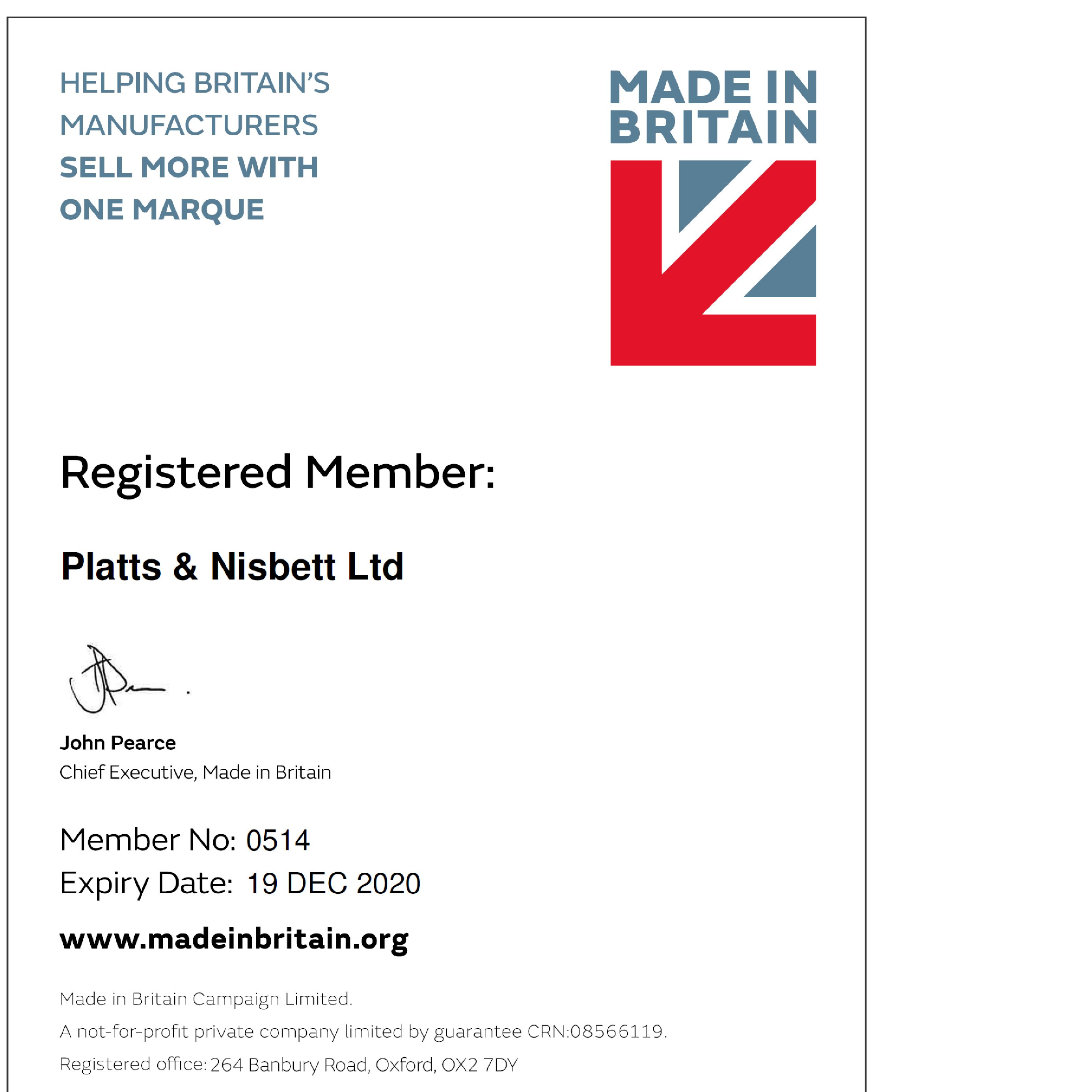 Made In Britain Certificate